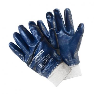 """Перчатки """"Повышенная стойкость к загрязнениям"""" хлопчатобумажные с полиэстером, нитриловое покрытие, манжета-резинка, Fiberon, 10(XL)"""