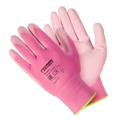 Перчатки «Для садовых работ», полиэстеровые, полиуретановое покрытие, однотонные, микс цветов, Fiberon, 8(М)