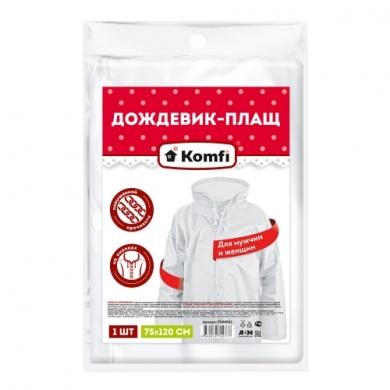 Дождевик белый EVA  с капюшоном (на кнопках) Komfi, прочные