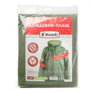 Дождевик зеленый EVA  с капюшоном (на кнопках) Komfi СУПЕРпрочные