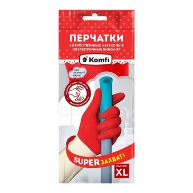 Перчатки хозяйственные латексные  сверхпрочные Биколор тм Komfi
