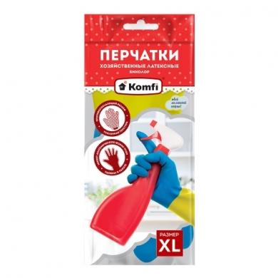 Перчатки хозяйственные латексные  Биколор тм Komfi
