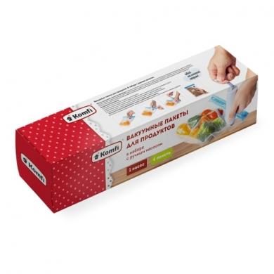 Вакуумные пакеты для продуктов (4 размера)  + ручной насос, Komfi