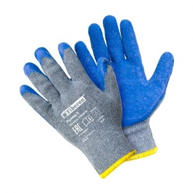 """Перчатки """"Стойкость к нагрузкам при тяжёлой работе"""" хлопчатобумажные с полиэстером, текстурированное латексное покрытие, Fiberon, 9(L)"""