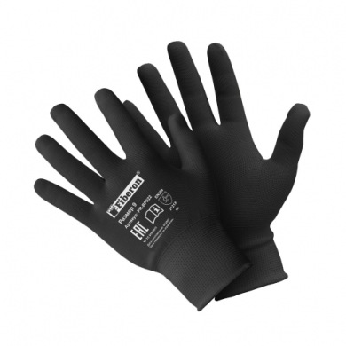Перчатки «для сборочных работ» полиэстеровые, черные, Fiberon